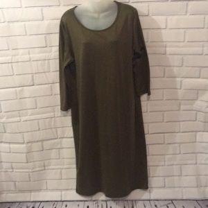 Army green body con midi dress